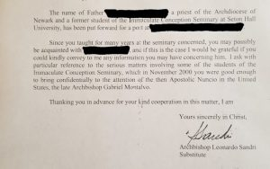 A letter dated Oct. 11, 2006 from Archbishop Leonardo Sandri, then substitute for the Vatican Secretariat of State, to Father Boniface Ramsey references a Nov. 2000 letter Father Ramsey had written to Archbishop Gabriel Montalvo, Vatican nuncio to the United States, warning about sexual abuse committed by Archbishop Theodore E. McCarrick. The letter, scanned and released by Father Ramsey to Catholic News Service Sept. 7, confirms past remarks by Father Ramsey and also confirms elements of the Aug. 26 testimony by Archbishop Carlo Maria Vigano, former nuncio to the United States. (CNS photo/courtesy of Father Boniface Ramsey) See MCCARRICK-SANDRI-RAMSEY Sept. 7, 2018. EDITORS: Name of priest redacted by Father Ramsey and CNS.